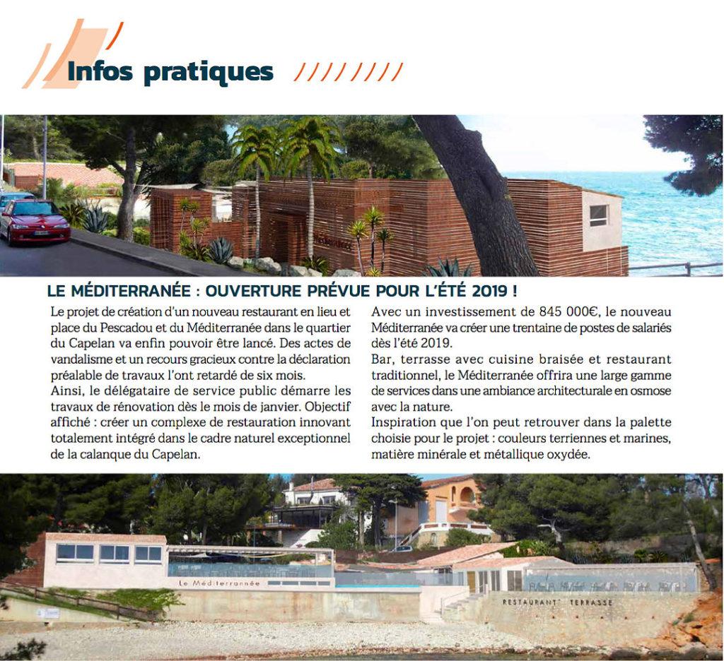 Extrait du magazine municipal: Mediterranée ouverture prévue été 2019